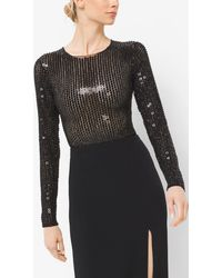 Michael Kors Sequin-embroidered Stretch-tulle Bodysuit - Black
