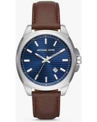Michael Kors - Bryson Silver-tone And Leather Watch - Lyst