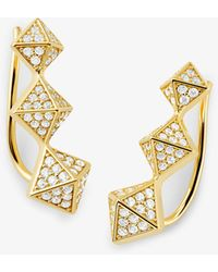 Michael Kors Precious Metal-plated Sterling Silver Pavé Pyramid Ear Crawlers - Metallic