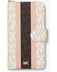 Michael Kors Custodia Folio A Righe Con Logo E Cinturino Per Iphone X/Xs - Rosa