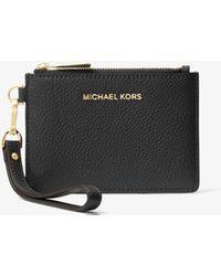 Michael Kors Small Pebbled Leather Wristlet - Black