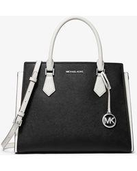 Michael Kors Grand sac porté main Hope bicolore en cuir saffiano - Noir