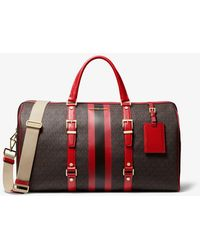 Michael Kors Borsa per il weekend Bedford Travel extra-large con righe e logo - Rosso