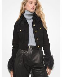 Michael Kors Faux Fur Trim Cropped Denim Jacket - Black