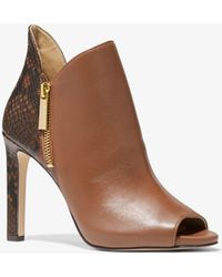 Michael Kors Alane Leather And Python Embossed Open-toe Ankle Boot - Brown