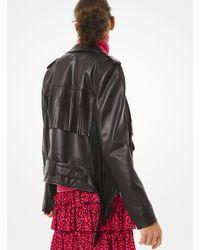 Michael Kors Fringed Leather Moto Jacket - Black