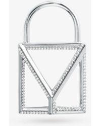Michael Kors Custom Kors Sterling Silver Pavé Oversize Open Padlock Charm - Metallic