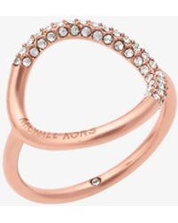 Michael Kors - Rose Gold-tone Pave Ring - Lyst