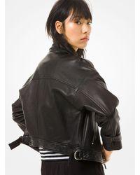 Michael Kors Leather Moto Jacket - Black