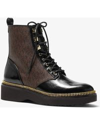 Michael Kors Haskell Crinkled Leather And Logo Combat Boot - Brown