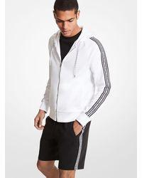 Michael Kors Felpa in misto cotone con fettuccia logo cappuccio e zip - Bianco