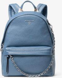 Michael Kors Slater Medium Pebbled Leather Backpack - Blue
