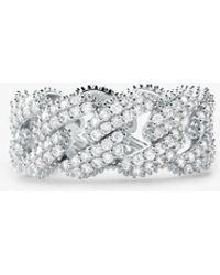 Michael Kors Bague à maillons gourmette en argent sterling plaqué en métal précieux avec pierres pavées - Métallisé