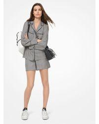 Michael Kors Checkerboard Logo Silk-twill Pyjama Shirt - Black