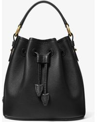 Michael Kors Monogramme Small Leather Bucket Bag - Black