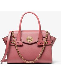 Michael Kors Carmen Small Saffiano Leather Belted Satchel - Pink