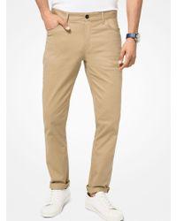 Michael Kors Parker Slim-fit Stretch Pants - Natural