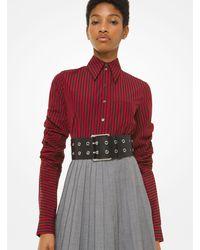Michael Kors Striped Poplin Scrunched-sleeve Shirt - Red