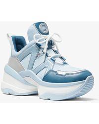 Michael Kors Basket Olympia en toile et cuir tricolore - Bleu