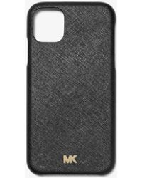 Michael Kors Saffiano Leather Phone Cover For Iphone 11 Pro - Black
