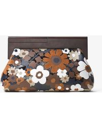 Michael Kors - Stanwyck Floral Intarsia Leather Clutch - Lyst