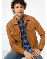 Michael Kors Leather Trucker Jacket - Brown
