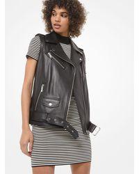Michael Kors Leather Moto Vest - Black