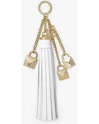 Michael Kors Mercer Leather Tassel And Lock Key Chain - White