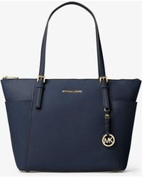 Michael Kors - Jet Set Large Top-zip Saffiano Leather Tote - Lyst