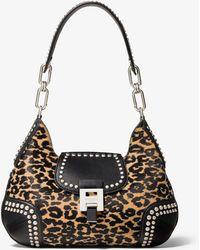 Michael Kors Bancroft Medium Leopard Calf Hair And Studded Leather Shoulder Bag - Black