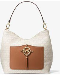 Michael Kors Grand sac porté épaule Amy en jacquard avec logo - Blanc