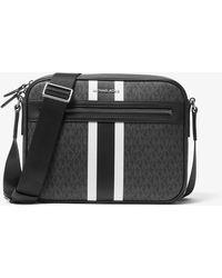 Michael Kors Hudson Logo Stripe Camera Bag - Black
