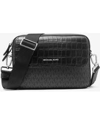 Michael Kors Hudson Crocodile Embossed Leather And Logo Crossbody Bag - Black