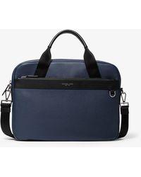 Michael Kors Greyson Slim Pebbled Leather Briefcase - Bleu
