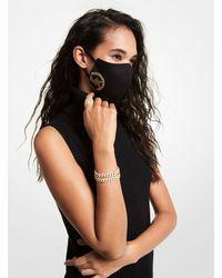 Michael Kors Studded Logo Stretch Cotton Face Mask - Black