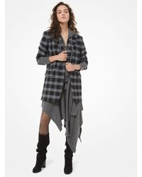 Michael Kors Glen Plaid Stretch-wool Crushed-sleeve Blazer - Grey