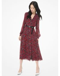 Michael Kors Woodland-print Georgette Shirtdress - Red