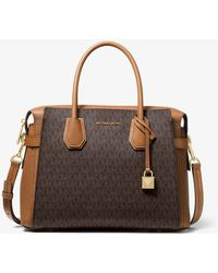 Michael Kors Bolso Satchel Mercer Mediano Con Estampado De Logotipos Y Tiras Decorativas - Marrón