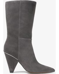 Michael Kors Mk Lizzy Suede Mid-calf Boot - Grey
