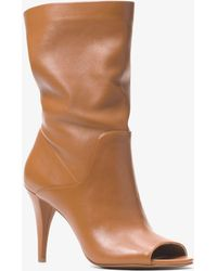 Michael Kors Elaine Leather Open-toe Boot - Brown