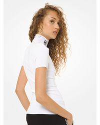 Michael Kors Logo Stretch-viscose Mock Neck Jumper - White