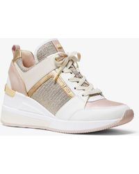 Michael Kors Georgie Leather And Chain-mesh Sneaker - Multicolour