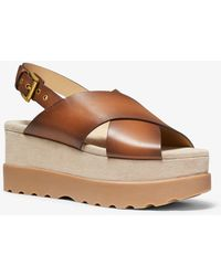 Michael Kors Becker Burnished Leather Flatform Sandal - Brown