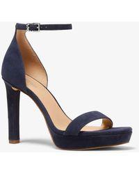 Michael Kors Margot Suede Platform Sandal - Blue