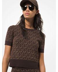 Michael Kors Mk Logo Jacquard Short-sleeve Sweater - Brown