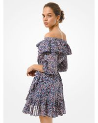 Michael Kors Floral Cotton Lawn Off-the-shoulder Dress - Blue