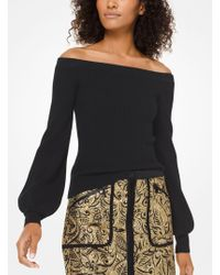Michael Kors - Ribbed Merino Wool Off-the-shoulder Pullover - Lyst