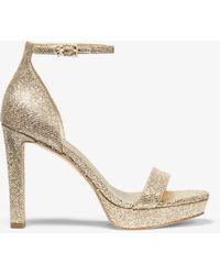 Michael Kors Margot Glitter Mesh Platform Sandal - Natural