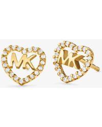 Michael Kors Precious Metal-plated Sterling Silver Pavé Heart Logo Studs - Metallic