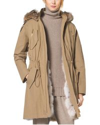 Michael Kors Crinkled Cotton Fur-lined Parka - Natural
